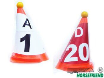 09.Kegelkap A,B,C,D poortaanduiding (8st.) rood en wit; buiten kwaliteit.