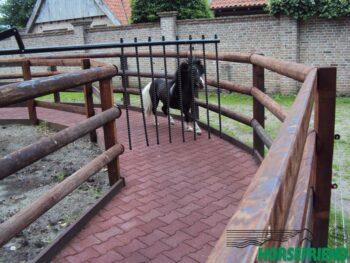 02.HF Dandy molen voor minipaarden; geschikt voor 4 paarden met een diameter tussen 10 en 16mtr. Gecoat en met kunststof spijlen