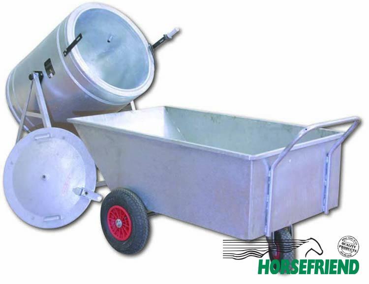 03.Voerwagen 250ltr. speciaal voor Branmasch; gegalvaniseerd. Afm.153x 92x 47cm