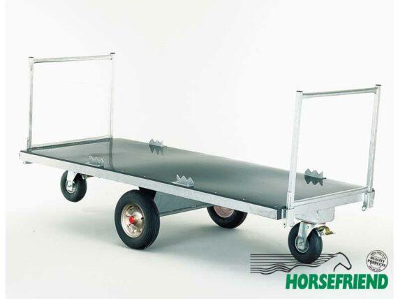 07.Platte wagen met twee zwenkwielen; Draagverm. 900kg. Afm. 250x 100cm