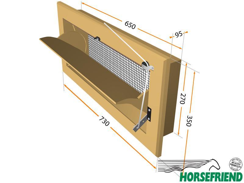 02. Inlaatrooster wandmontage vorzien van gaas; geschikt voor set 1-6paarden