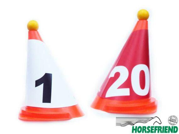 08.Kegelkap nummers 1-20 (40st.) rood en wit voor hinderniskegel; buiten kwaliteit.