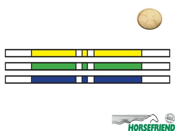 Springboom Kruishout, Wit met Geel, Blauw en Groen