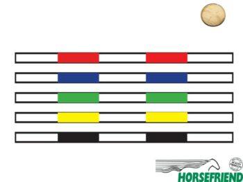 Springboom Kruishout, Wit met Rood, Blauw, Groen, Geel en Zwart